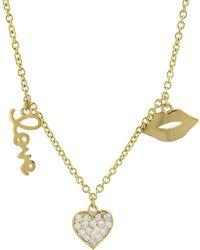 Sydney Evan | Three Charm Love Fringe Necklace | Lyst