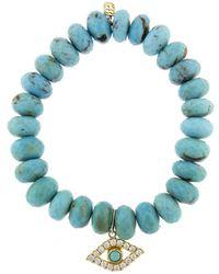 Sydney Evan - Extra Large Bezel Evil Eye Charm On Turquoise Beaded Bracelet - Lyst