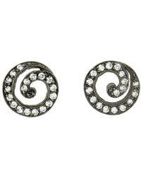 Cathy Waterman - Blackened Swirl Diamond Stud Earrings - Lyst