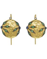 Cathy Waterman - Emerald And Blue Sapphire Flower Overlay Earrings - Lyst