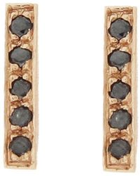 Jennifer Meyer - Black Diamond Bar Stud Earrings - Lyst