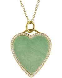 Jennifer Meyer - Diamond Green Turquoise Heart Inlay Necklace - Lyst