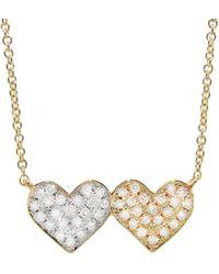 Sydney Evan - Medium Double Heart Diamond Necklace - Lyst