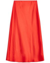 TOPSHOP 3/4 Length Skirt - Red