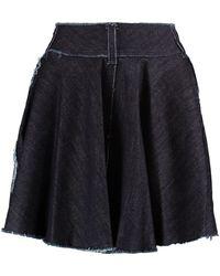 Norma Kamali - Wrap-effect Frayed Denim Mini Skirt - Lyst
