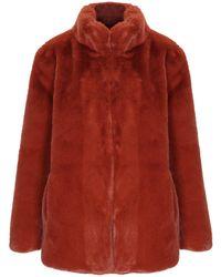 1031e9aea00 Lyst - Abrigo a cuadros con capucha con ribete de pelo Woolrich de ...
