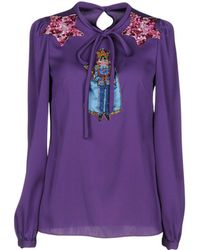 Dolce & Gabbana - Graphic Patch Silk Blouse - Lyst