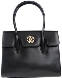 Roberto Cavalli - Black Leather Double Handle Tote Bag - Lyst