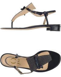 O Jour - Printed-Leather Sandals - Lyst