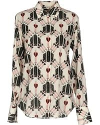 Valentino - Love Blade Printed Long-sleeve Blouse - Lyst