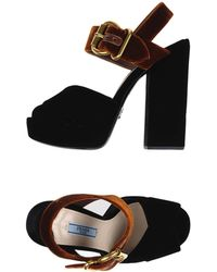Prada - Buckled Velvet Sandals - Lyst