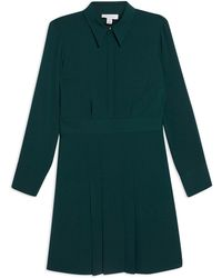 TOPSHOP - Pleated Mini Shirt Dress - Lyst