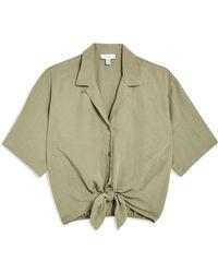 TOPSHOP - Short Sleeve Knot Front Shirt - Lyst