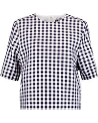 MSGM - Gingham Cotton-blend Twill Top - Lyst