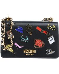 Moschino   Iconic Pins Leather Shoulder Bag   Lyst