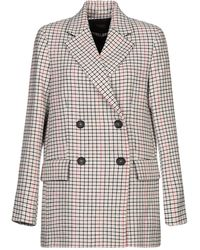 Maje Double-breasted Tweed Blazer Beige - Natural