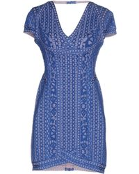 Hervé Léger - Cap Sleeve Jacquard Dress: Blue - Lyst