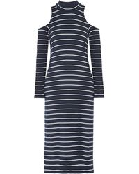 Splendid - Envelope Cold-shoulder Striped Stretch-modal Midi Dress Storm Blue - Lyst