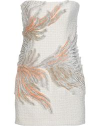1bf4902c Balmain Sleeveless Sequined-tweed Chain-strap Mini Dress in White ...