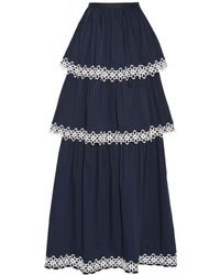 Alexis - Kali Tiered Appliquéd Cotton-blend Poplin Maxi Skirt - Lyst