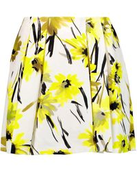 Alice + Olivia - Connor Pleated Printed Cotton And Silk-blend Mini Skirt - Lyst