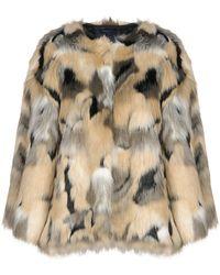 Lyst - Manteau En Fausse Fourrure Dolce   Gabbana en coloris Neutre 713e68734d20