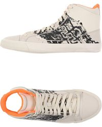 Alexander McQueen X Puma - Printed Leather High-Top Sneakers - Lyst