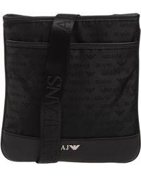Lyst - Armani Jeans All Over Logo Eco Leather Shoulder Bag in Black ... d79897d3d9bd3