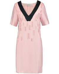 Amanda Wakeley - Satin-trimmed Distressed Crepe Dress - Lyst