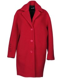 Love Moschino - Woman Felt Coat Crimson - Lyst