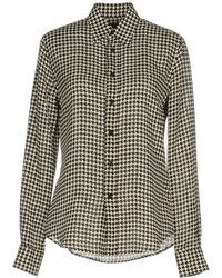 Ralph Lauren Black Label - Long-sleeve Houndstooth Chiffon Blouse - Lyst