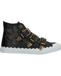 Chloé - Sneakers Susanna High Leather Black Rivets Gold Floral - Lyst