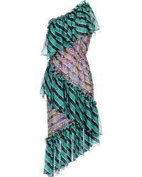 Marco De Vincenzo - Woman One-shoulder Embroidered Striped Silk-chiffon Dress Green - Lyst