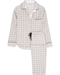 DKNY - Checked Satin Pajama Set - Lyst