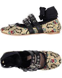 Miu Miu - Lace-up Leather-trimmed Brocade Ballet Flats - Lyst