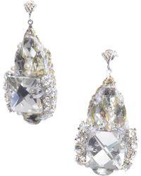 RDLux - Dusk Drop Earrings In Silver And Swarovski - Lyst