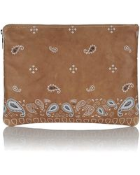 meli melo - Oversized Clutch In Light Tan Nappa Print - Lyst