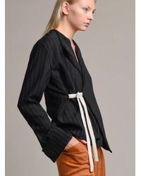 Charlie May - Pinstripe Wrap Shirt With Dove Silk Tie - Lyst