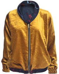 Klements - Gold Velvet Bomber Jacket - Lyst