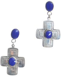 RDLux - Tulum Drop Earrings In Silver And Lapis Lazuli - Lyst