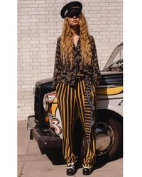 Rockins - Loose Black And Gold Striped Silk Trouser - Lyst