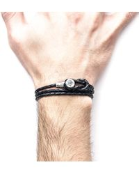 Anchor & Crew - Coal Black Dundee Silver And Leather Bracelet - Lyst