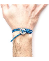 Anchor & Crew - Blue Noir Lerwick Silver And Rope Bracelet - Lyst