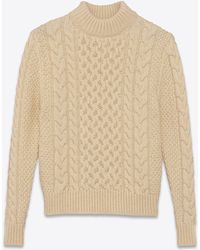 Lyst Saint Laurent Fisherman Mock Turtleneck Sweater In Ivory Wool