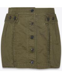 Saint Laurent - Safari Skirt In Khaki Cotton Gabardine - Lyst