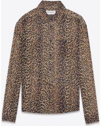 Saint Laurent - Shirt In Brown And Black Leopard Print Etamine - Lyst