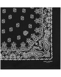Saint Laurent - Bandana Square Scarf In Black And White Paisley Printed Cotton - Lyst