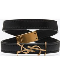 Saint Laurent - Ysl Double Wrap Bracelet In Black Leather And Light Bronze-toned Metal - Lyst