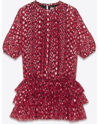 Saint Laurent - Dress In Burgundy Silk Georgette With Gold Lamé Polka Dots - Lyst