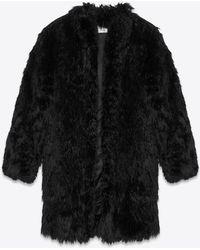 e454b75c60c Lyst - Saint Laurent Long Hair Mongolian Goat 3 4-length Coat in Natural